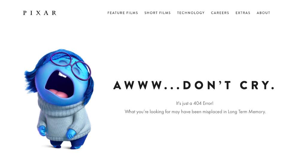 UX Writing de la page 404 Pixar